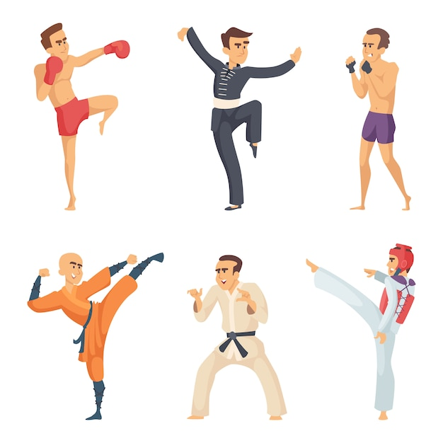 Sportpersonages in actie poseert. taekwondo karate-jagers Premium Vector
