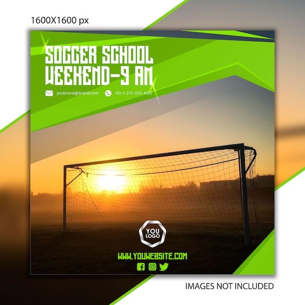 Sportpublicatie voetbal voor sociaal netwerk Premium Vector