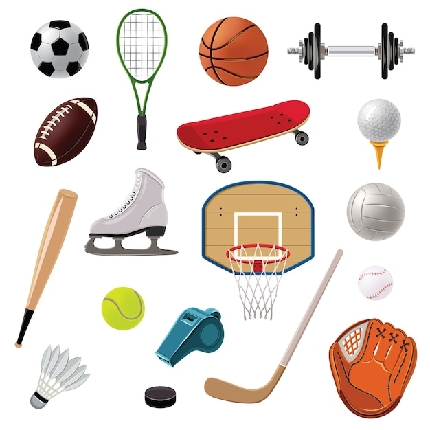Sports equipment icons set Gratis Vector
