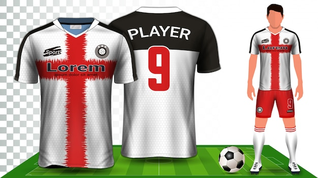 Sportshirt of voetbaloutfit uniform. Premium Vector