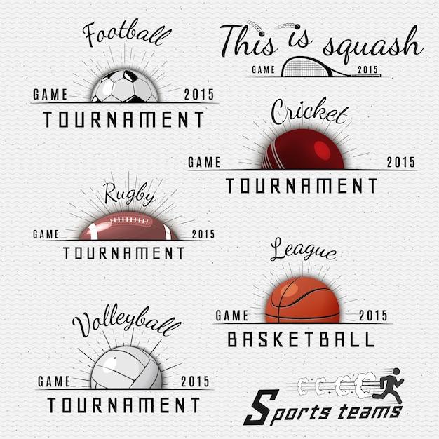 Sportteams badges logo's en labels kunnen worden gebruikt voor ontwerp, presentaties, brochures, flyers, sportuitrusting, bedrijfsidentiteit, verkoop Premium Vector