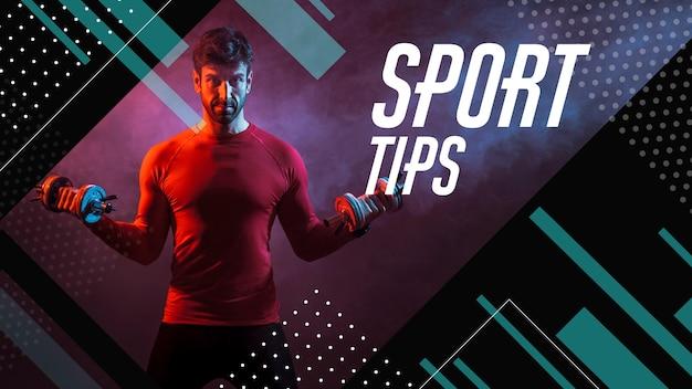 Sporttrainer youtube thumbnail Gratis Vector