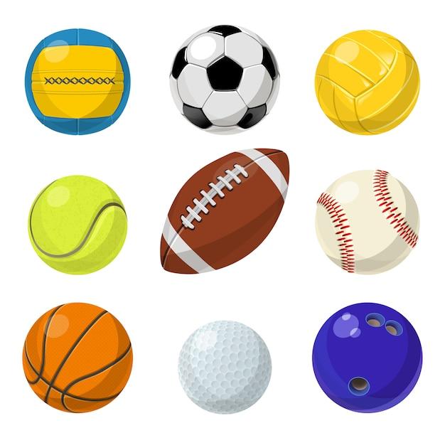 Sportuitrusting. verschillende ballen in cartoon stijl. Premium Vector
