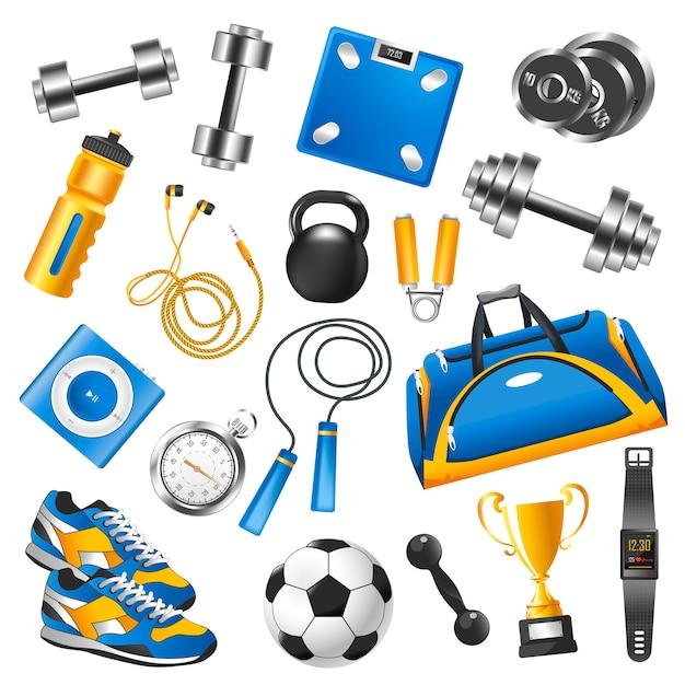 Sportuitrusting voor trainingsset en gouden beker Premium Vector