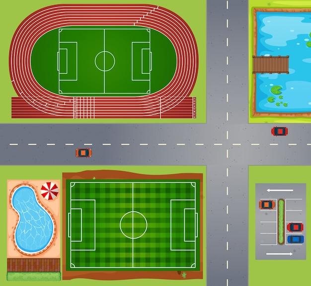 Sportvelden en rechtbanken Premium Vector