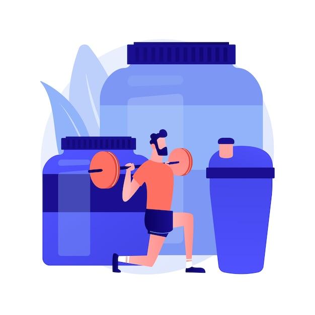Sportvoeding. dieet voor het verbeteren van atletische prestaties. vitaminen, eiwitten, supplementen. krachtsport, gewichtheffen, bodybuilding. vector geïsoleerde concept metafoor illustratie Gratis Vector