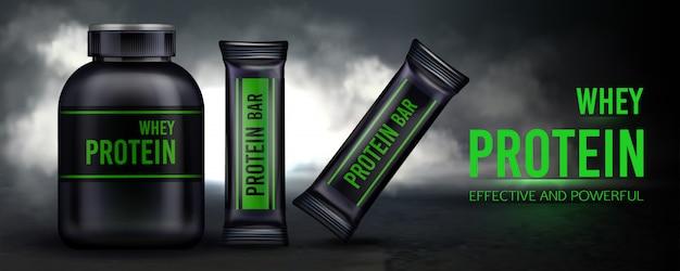Sportvoeding, proteïne weisaanvulling en repen containerverpakking Gratis Vector