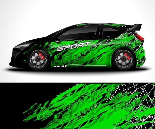 Sportwagenwrap en voertuigkleuren Premium Vector