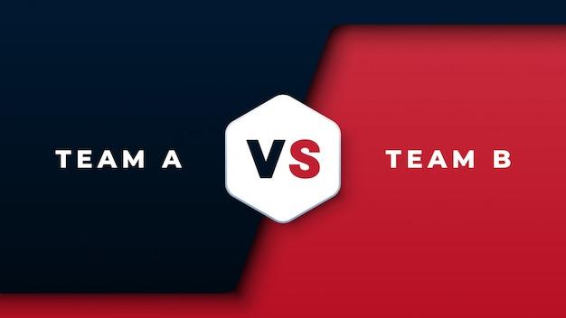 Sportwedstrijd versus zwarte en rode achtergrond Premium Vector