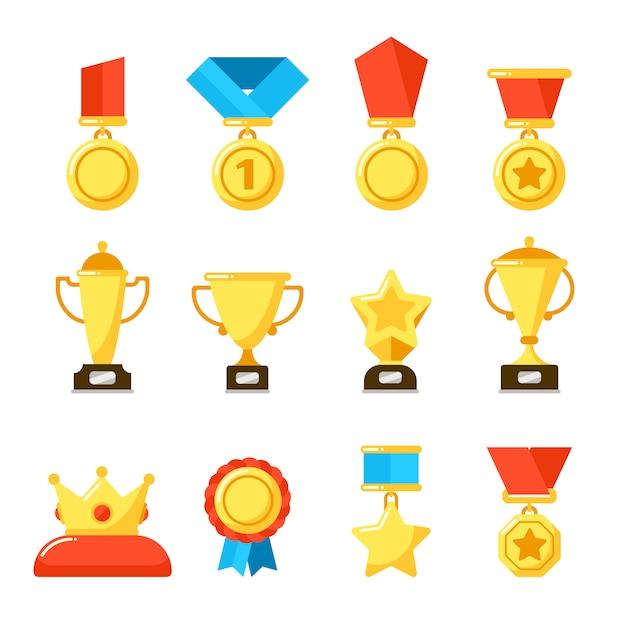 Sportwinnaartrofee, gouden kampioenschapsgoblet en beloningbeker. Premium Vector