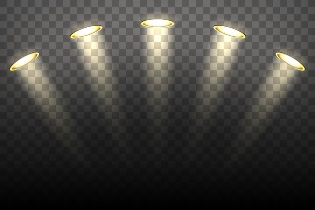 Spotlichten op transparante achtergrond Premium Vector