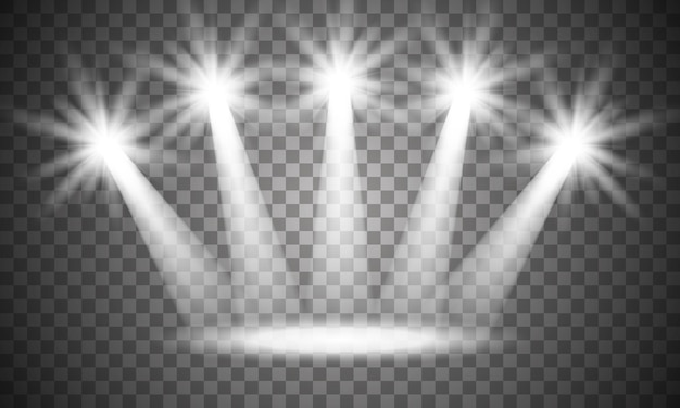 Spotlight op het podium. volumelampje op transparant. Premium Vector