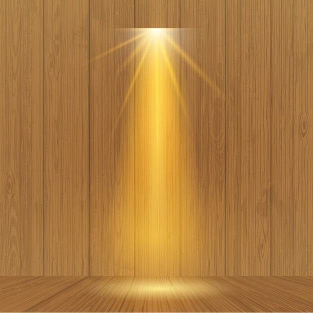 Spotlight op houten wand Gratis Vector