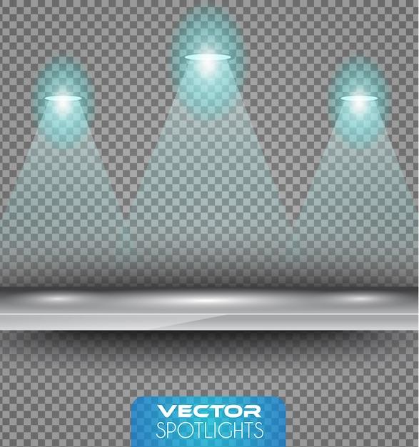 Spotlights-scène met verschillende lichtbronnen die naar de vloer of plank wijzen. Premium Vector