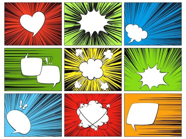 Spraak radiale elementen. comic cartoon vormen voor dialogen denken en praten over gekleurde horizontale lijn dekking ray hero set Premium Vector
