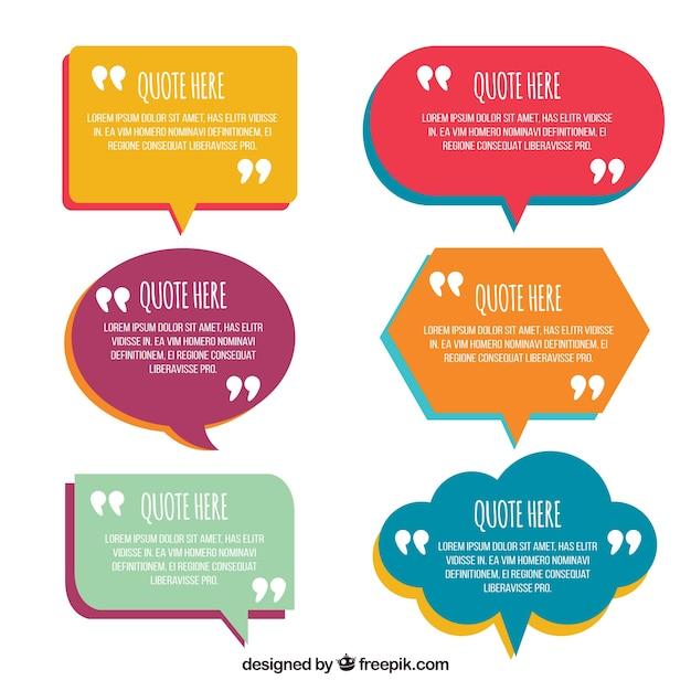 Spraakbellen in vlak ontwerp voor zinnen Gratis Vector