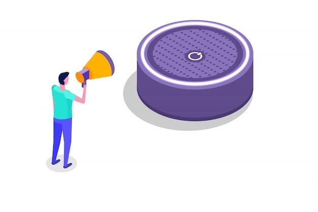 Spraakberichten, spraakherkenning isometrisch concept met karakter. kan gebruiken voor webbanner, sjabloon voor bestemmingspagina's, infographics. Premium Vector