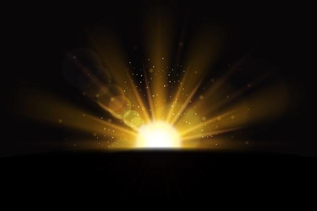Sprankelend gouden zonsopgang lichteffect Gratis Vector