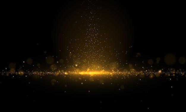 Sprankelende magische stof en gouden deeltjes op zwarte achtergrond. glitter en elegant. magisch concept. abstract bokeh-effect. Premium Vector