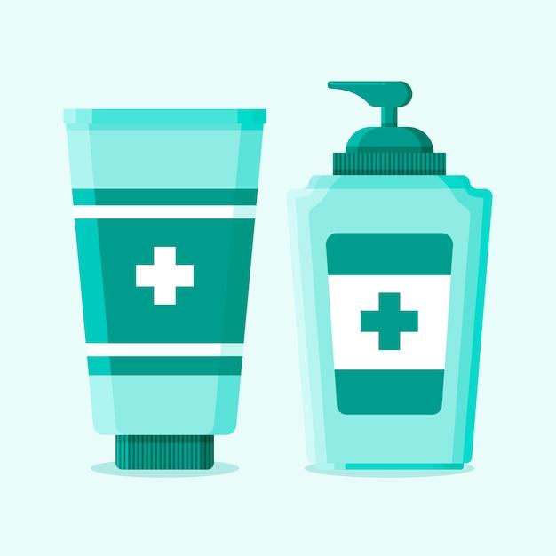 Spray fles en gel met handdesinfecterend middel Gratis Vector
