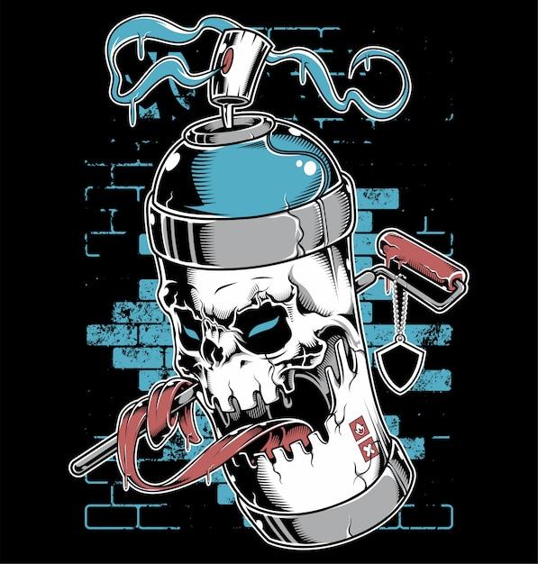 Spray verf schedel gezicht graffiti stripfiguur Premium Vector