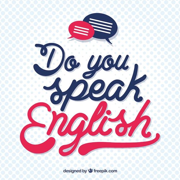 Spreekt u engelse van letters voorziende achtergrond Gratis Vector