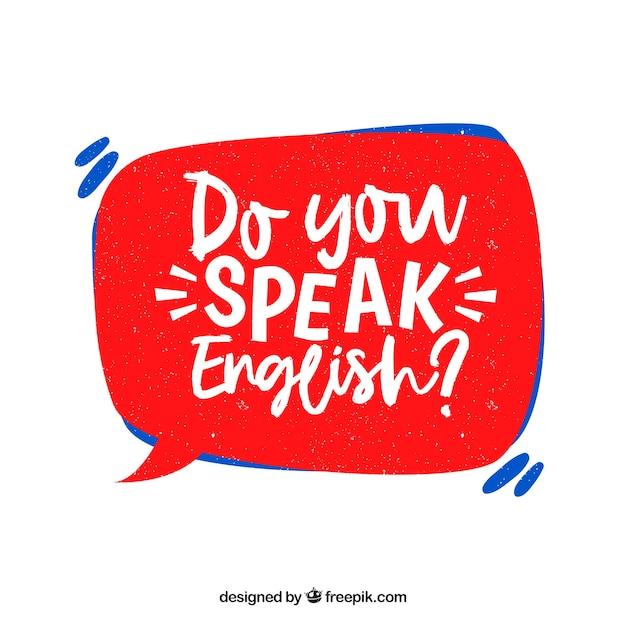 Spreekt u engelse vraag met hand getrokken stijl Gratis Vector