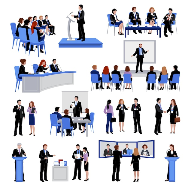 Spreken in het openbaar mensen vlakke pictogrammeninzameling met conferentievergaderingen Gratis Vector