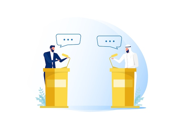 Sprekers van arabische zakenmensen of debat over handel Premium Vector