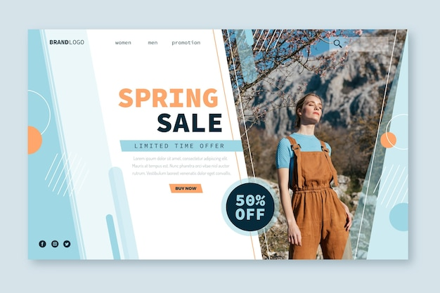 Spring model verkoop bestemmingspagina websjabloon Gratis Vector