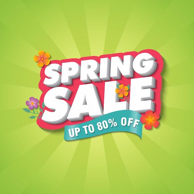 Spring sale banner ontwerpsjabloon Premium Vector