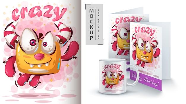 Spring schattige monsterposter en merchandising Premium Vector