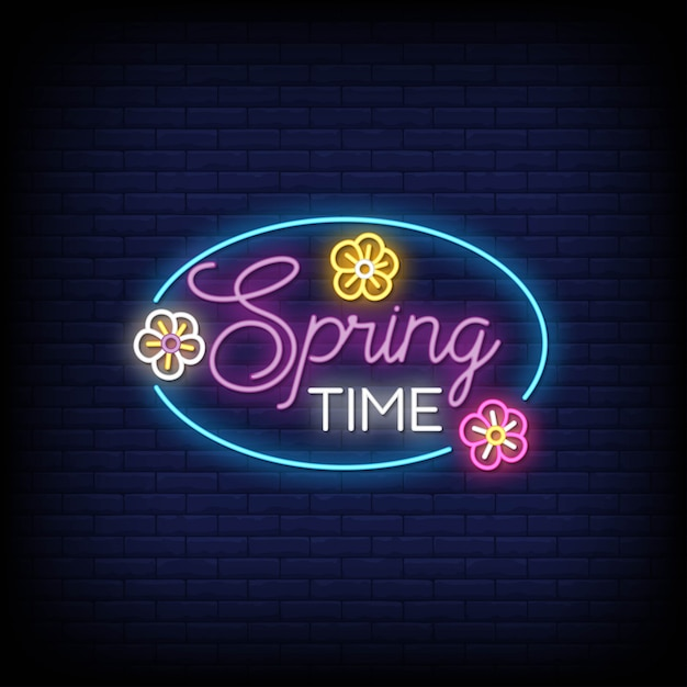 Spring time neon signs style text Premium Vector
