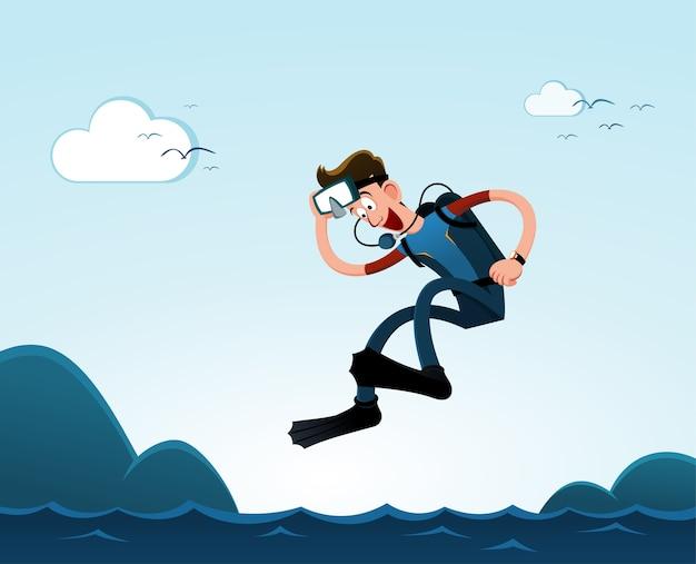 Springen naar de zee Premium Vector