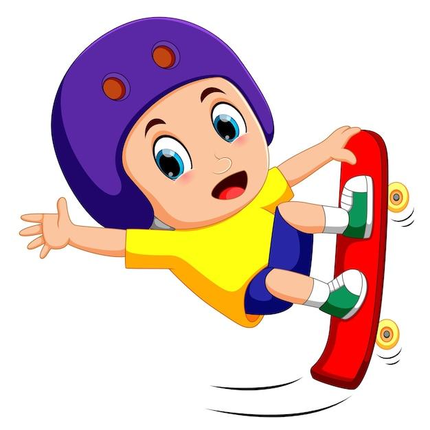 Springen skateboarder Premium Vector