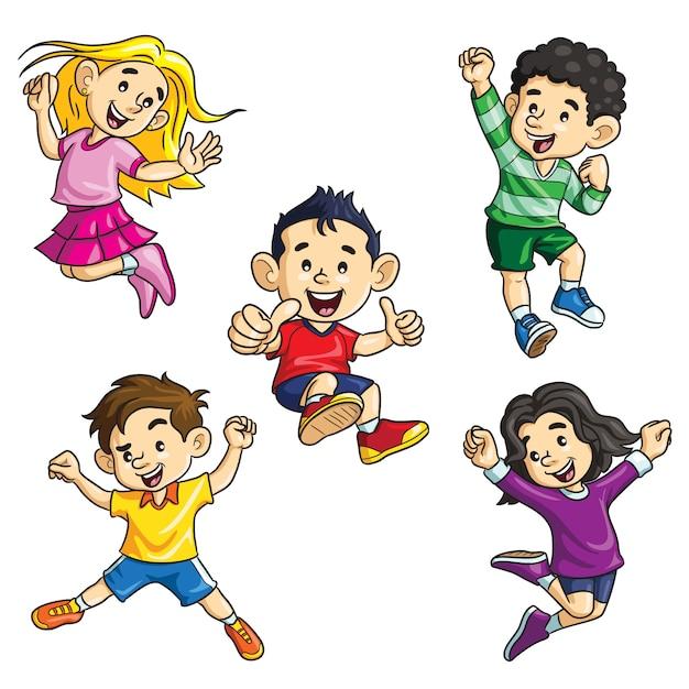 Springende kinderen cartoon Premium Vector
