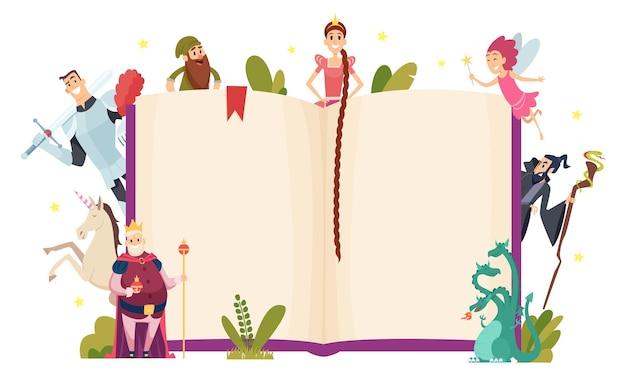 Sprookje frame. decoratieve achtergrond met het boek van fantasiekarakters in cartoon stijlsjabloon. Premium Vector