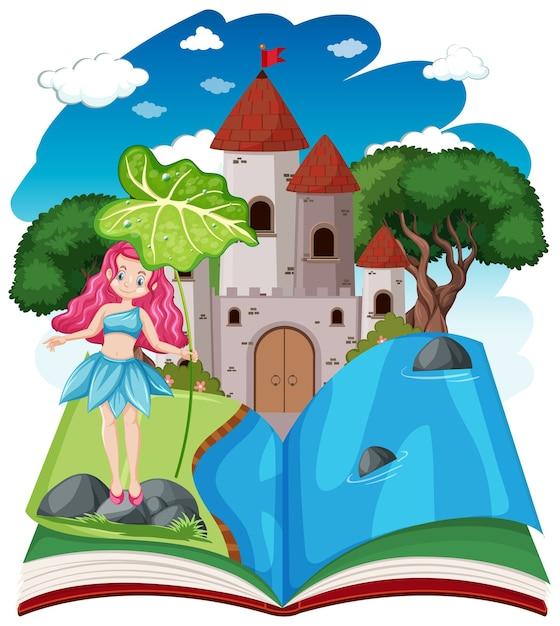 Sprookjes en kasteeltoren op pop-up boek cartoon stijl op wit Gratis Vector