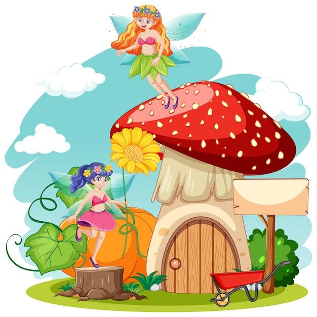 Sprookjes en paddestoel huis cartoon stijl op witte achtergrond Gratis Vector
