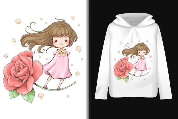 Sprookjesachtig bloemenpatroon op hoodie met lange mouwen Premium Vector