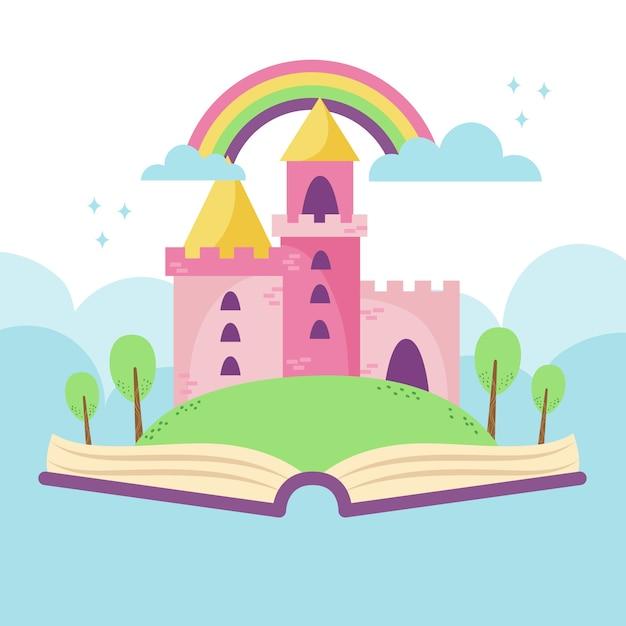 Sprookjeskasteel in boek met regenboogillustratie Gratis Vector