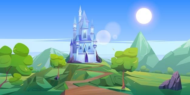 Sprookjeskasteel in de bergen. vector cartoon landschap van sprookjesachtig koninkrijk met rotsen Gratis Vector
