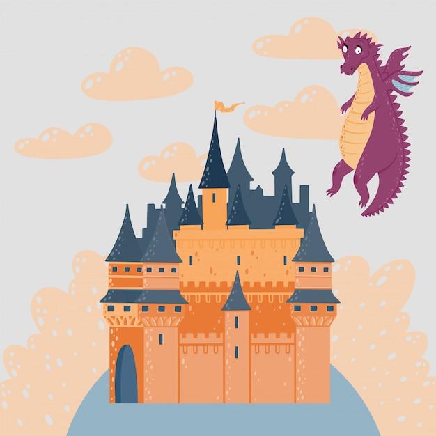 Sprookjeslandschap met een kasteel en vliegende draak. fantasie paleis toren. Premium Vector