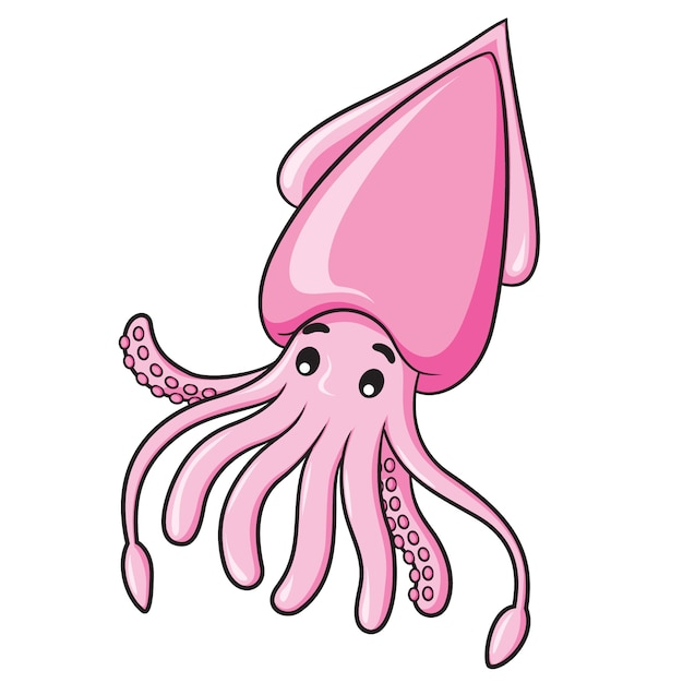 Squid cartoon Premium Vector