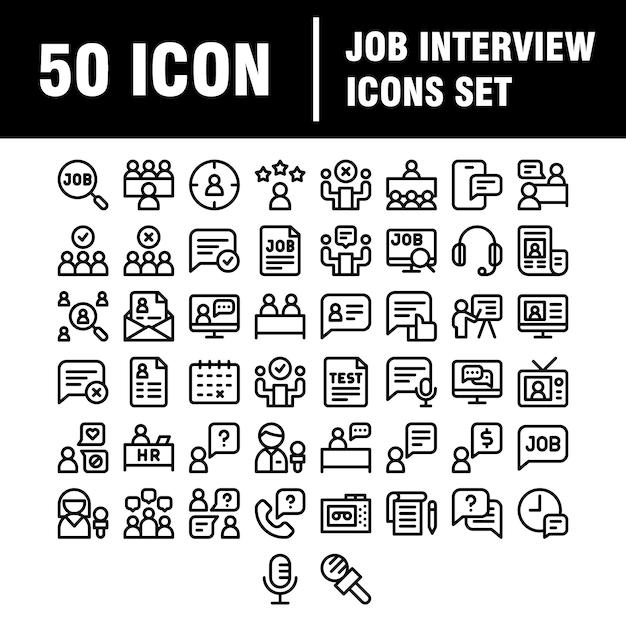 Ssjabloon uploadjob interview pictogramserie. lineair . keuze van werknemer. Premium Vector