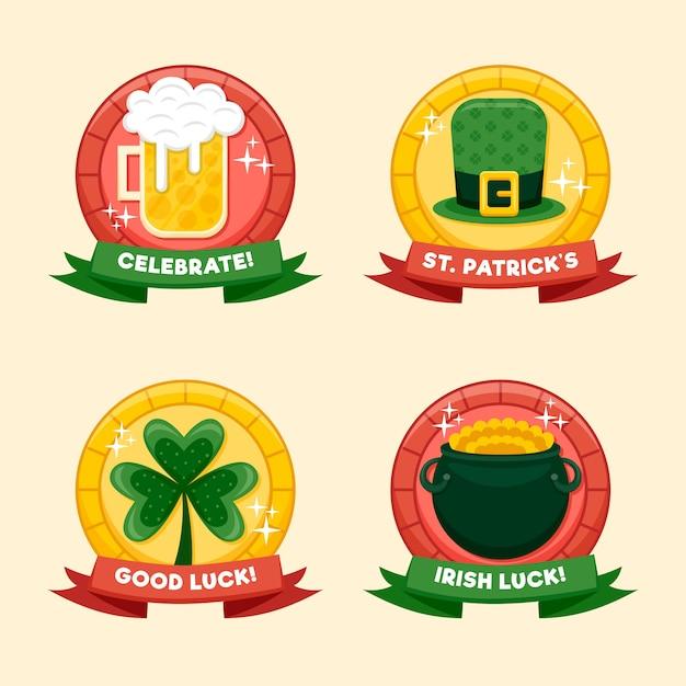 St. patrick's dag badge met bier en geluk Gratis Vector
