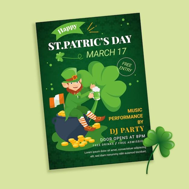 St. patrick's dag folder sjabloon in plat ontwerp Gratis Vector