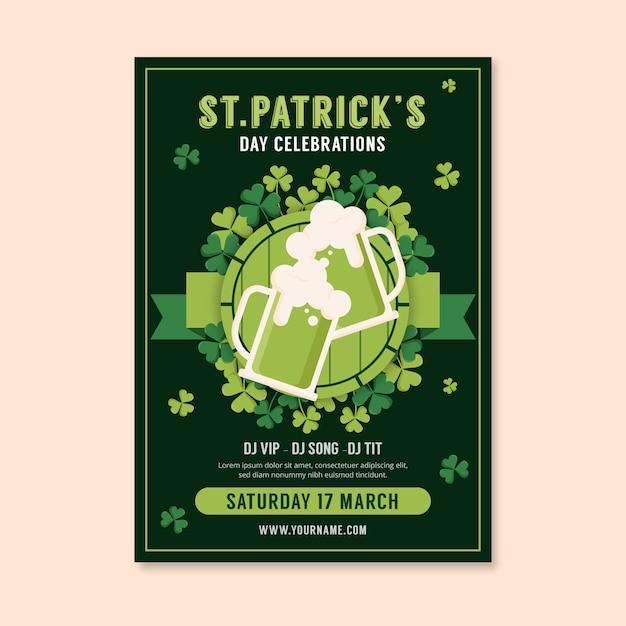 St. patrick's dag poster sjabloon in plat ontwerp Gratis Vector