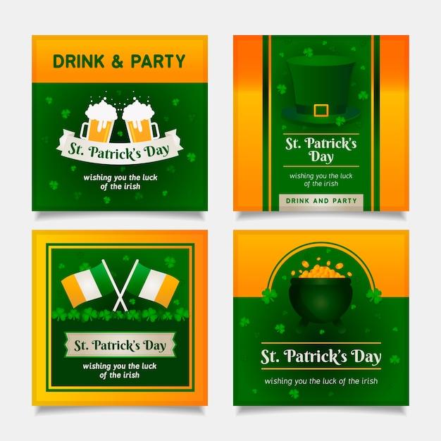 St. patrick's dag sociale media plaatsen met bier en vlaggen Gratis Vector