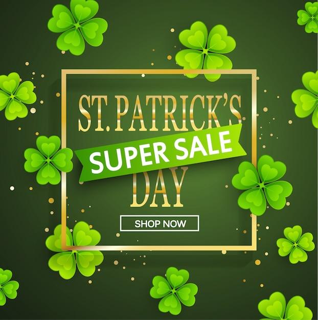 St.patrick's dag super verkoop achtergrond. Premium Vector